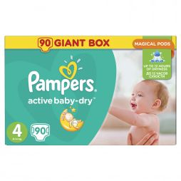 Pampers Active Baby Dry No4 (8-14kg) 90τμχ 0,20€/πάνα
