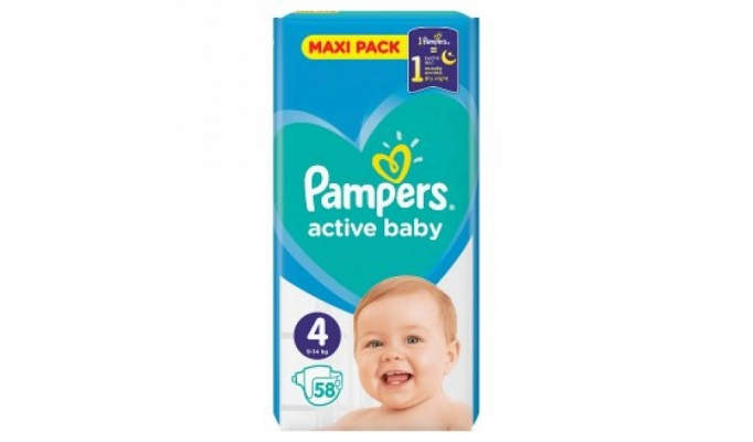PAMPERS ACTIVE BABY ΠΑΝΕΣ ΜΕΓΕΘΟΣ 4 9-14KG 58 ΤΕΜΑΧΙΑ