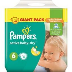 Pampers Active Baby Dry No 6 (15+ kg) Giant Box Πάνες 66τμχ