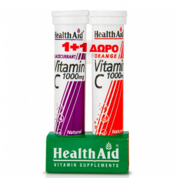 Health Aid Vitamin C Blackcurrant + Vitamin C Orange 1000mg 40 αναβράζοντα δισκία