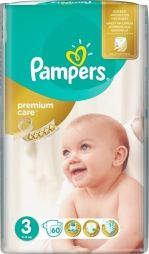 Pampers Premium Care No 3 (5-9kg) 60 τμχ 0.23€ / πάνα