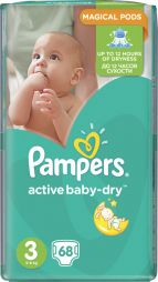 Pampers Active Baby Dry No3 (5-9Kg) 68 τμχ 0.16€/πάνα