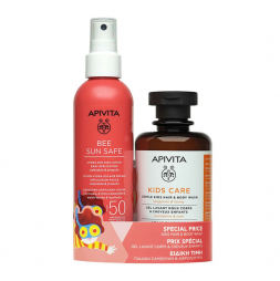 Apivita Bee Sun Safe Lotion Hydra Solaire Kids SPF50, 200ml & Apivita Kids Care Hair & Body Wash 250ml SPF50 450ml