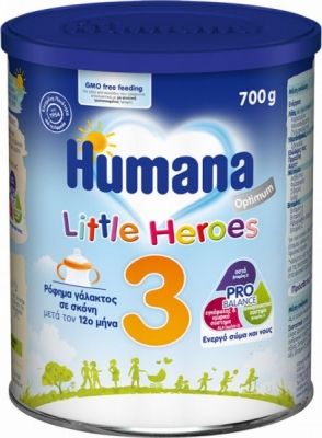 Humana Γάλα σε Σκόνη Optimum 3 12m+ Little Heroes 700gr