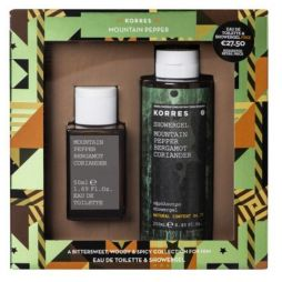 Korres Mountain Pepper Bergamot Coriander Eau De Toilette 50ml & Shower Gel 250ml
