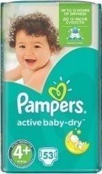 Pampers Active Baby Dry No 4+ (9-16Kg) Πάνες 53 Τμχ