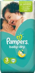 PAMPERS BABY DRY No3 (4-9kg) 50ΤΜΧ 0,20€/πάνα